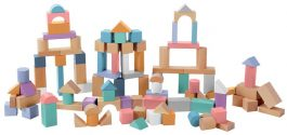 ערכת קוביות מעץ בדלי – 100 חלקים