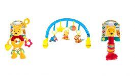 חבילת צעצועים לגיל 0 -ניו בורן של דיסני: קשת לעגלה, בובת תליה לעגלה עם נשכן, צפצפה עם טבעות