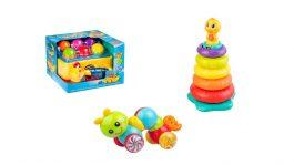 חבילת צעצועי התפתחות: הך פטיש, מגדל טבעות מוזיקלי, בייבי זחל